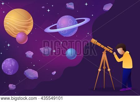 Child Look In Telescope. Boy Watches Stars, Planets, Asteroids And Other Bodies In Outer Space. Char