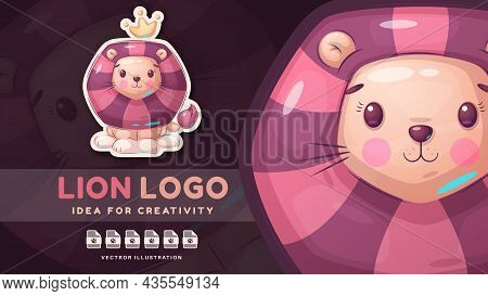 Cartoon Character Comic Animal Lion - Comic Sticker. Vector Eps 10