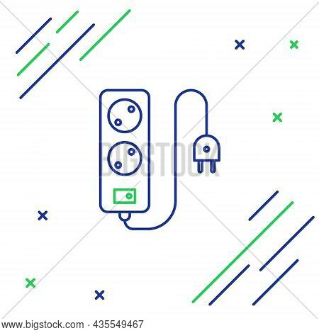 Line Electric Extension Cord Icon Isolated On White Background. Power Plug Socket. Colorful Outline