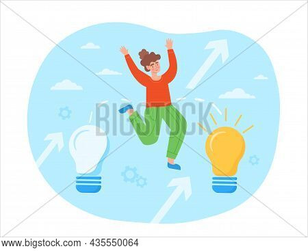 Transition To Innovative Idea. Woman Jumps On Light Bulb. Metaphor For Business Development And Impr