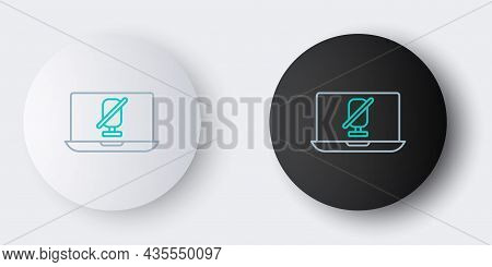 Line Mute Microphone On Laptop Icon Isolated On Grey Background. Microphone Audio Muted. Colorful Ou