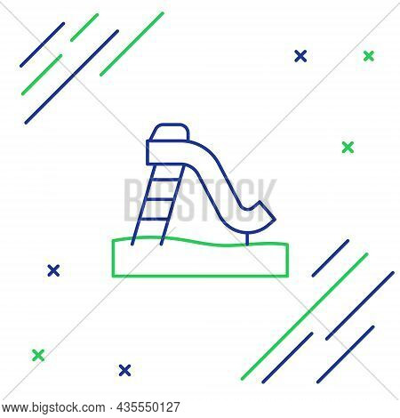 Line Kid Slide Icon Isolated On White Background. Childrens Slide. Colorful Outline Concept. Vector