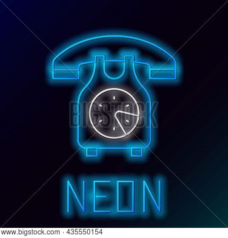 Glowing Neon Line Telephone Handset Icon Isolated On Black Background. Phone Sign. Colorful Outline