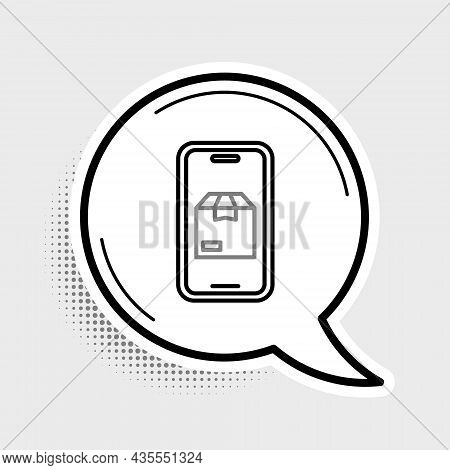 Line Mobile Smart Phone With App Delivery Tracking Icon Isolated On Grey Background. Parcel Tracking