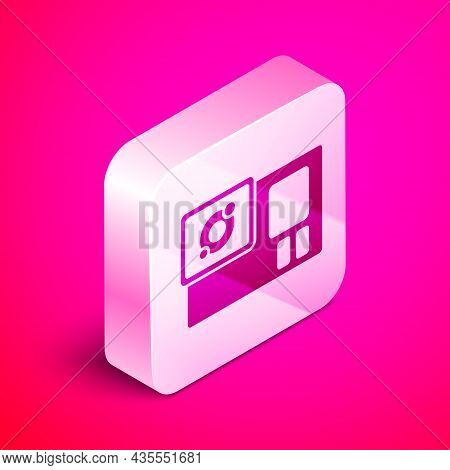 Isometric Action Extreme Camera Icon Isolated On Pink Background. Video Camera Equipment For Filming