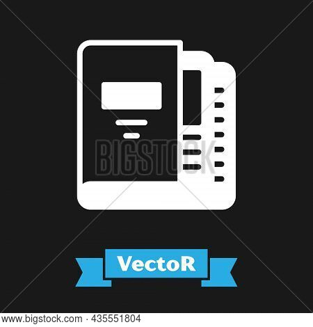 White Office Folders With Papers And Documents Icon Isolated On Black Background. Office Binders. Ar
