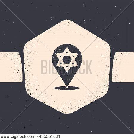 Grunge Star Of David Icon Isolated On Grey Background. Jewish Religion Symbol. Symbol Of Israel. Mon
