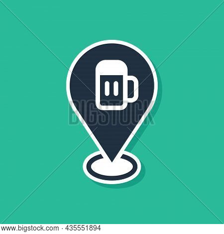 Blue Alcohol Or Beer Bar Location Icon Isolated On Green Background. Symbol Of Drinking, Pub, Club,