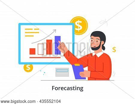 Financial Forecasting Concept. Man Studies Stock Market Statistics And Competently Invests Money. Ma