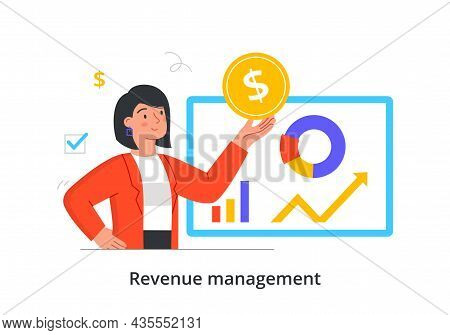Investing And Budget Management. Woman Analyzes Stock Market Statistic And Makes Big Profit. Financi