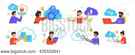 Cloud Service Access. Data Protection, Access To Information, Cyber Security, Login To Your Personal
