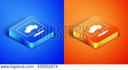 Isometric Car Service Icon Isolated On Blue And Orange Background. Auto Mechanic Service. Repair Ser