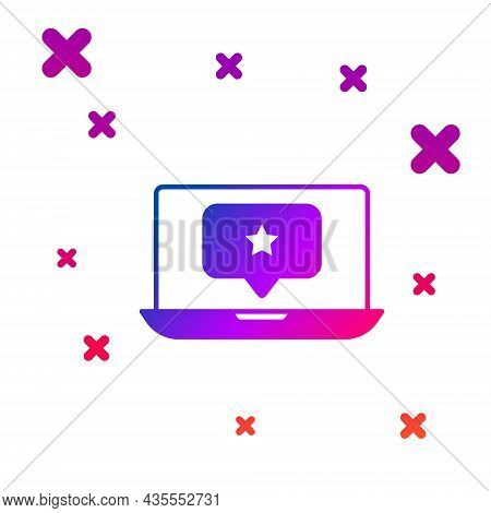 Color Laptop With Star Icon Isolated On White Background. Favorite, Best Rating, Award Symbol. Gradi