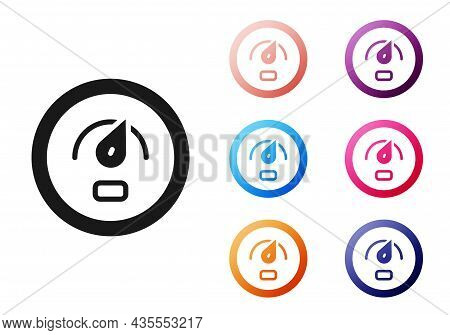 Black Digital Speed Meter Concept Icon Isolated On White Background. Global Network High Speed Conne