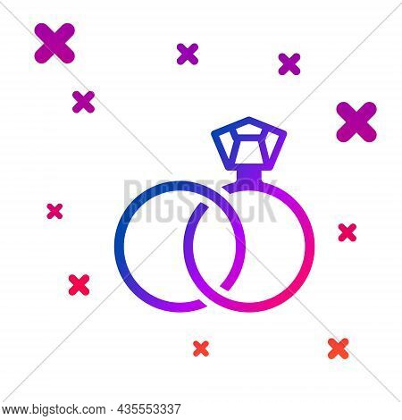 Color Wedding Rings Icon Isolated On White Background. Bride And Groom Jewelry Sign. Marriage Symbol