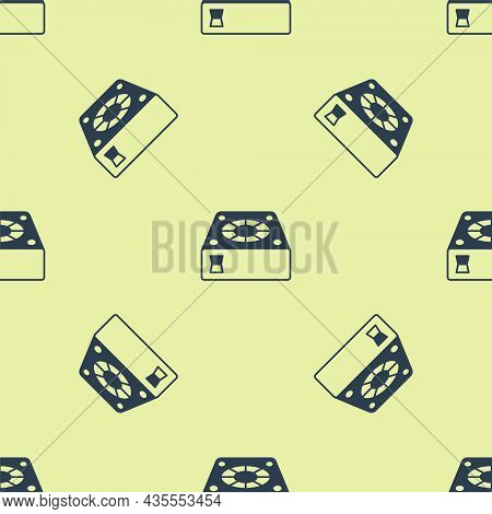 Blue Computer Cooler Icon Isolated Seamless Pattern On Yellow Background. Pc Hardware Fan. Vector