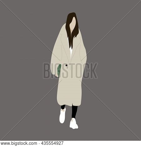 Vector Illustration Of Kpop Street Fashion. Street Idols Of Koreans. Kpop Women's Fashion Idol. A Gi