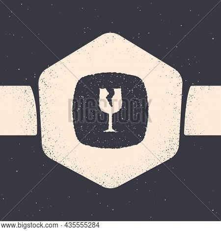 Grunge Fragile Broken Glass Symbol For Delivery Boxes Icon Isolated On Grey Background. Monochrome V