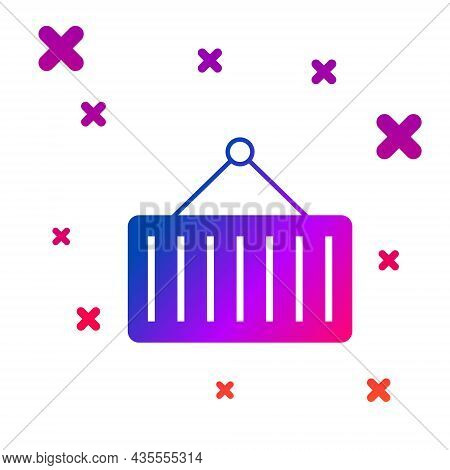 Color Container On Crane Icon Isolated On White Background. Crane Lifts A Container With Cargo. Grad