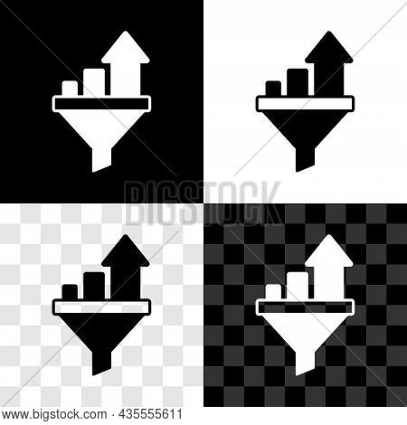 Set Sales Funnel With Chart For Marketing And Startup Business Icon Isolated On Black And White, Tra