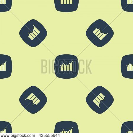 Blue Financial Growth Increase Icon Isolated Seamless Pattern On Yellow Background. Increasing Reven