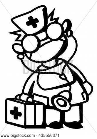 Doctor Emergency Response Medic Cartoon Character Line Drawing, Vector, Vertical, Black And White, I