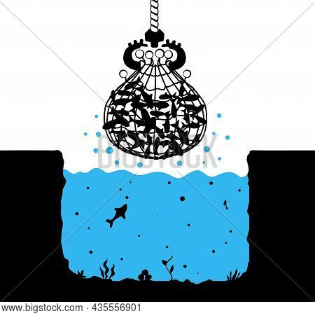 Fishing Net Scoop All Fish Scene Silhouette Cartoon Black And Color, Vector Illustration, Horizontal