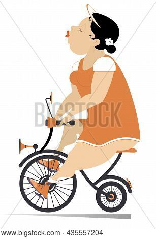 Comic Plump Woman Rides A Bike. Cartoon Fat Woman Or Girl Rides On The Funny Bike Isolated On White