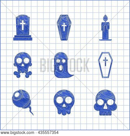 Set Ghost, Skull, Coffin With Christian Cross, Eye, On Crossbones, Burning Candle And Tombstone Icon