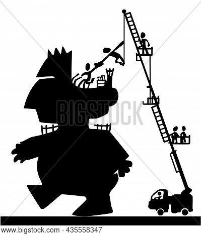 Giant Figure Driver Orders Scene Silhouette Cartoon Black, Vector Illustration, Horizontal, Over Whi