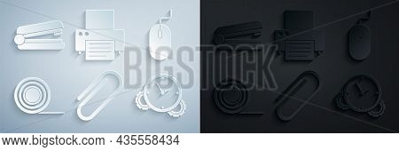 Set Paper Clip, Computer Mouse, Scotch, Time Management, Printer And Office Stapler Icon. Vector