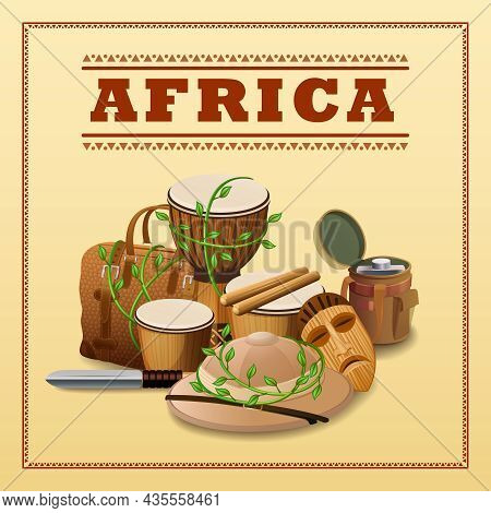 African Travel Background With Expedition And Discovery Elements Vector Illustration