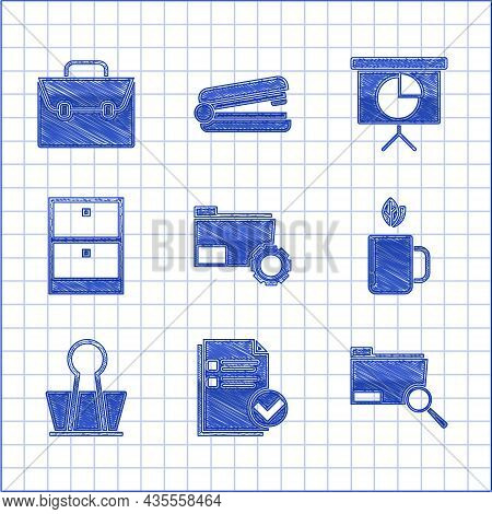 Set Folder Settings With Gears, Cup Of Tea Leaf, Binder Clip, Archive Papers Drawer, Presentation Fi
