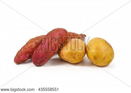 Comparison Between Sweet Potato And Potato On White Background