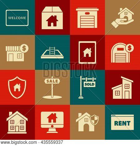 Set Hanging Sign With Text Online Rent, House, Warehouse Dollar Symbol, Garage, Swimming Pool Ladder