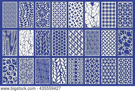 Decorative Laser Cut Panels Template With Abstract Texture. Geometric And Floral Laser Cutting Or En