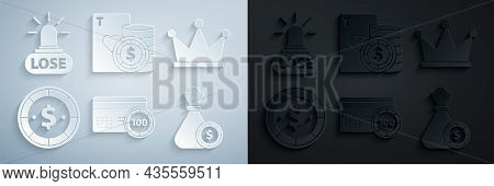 Set Credit Card, Crown, Casino Chip With Dollar, Money Bag And Casino Chips, Playing Cards And Losin