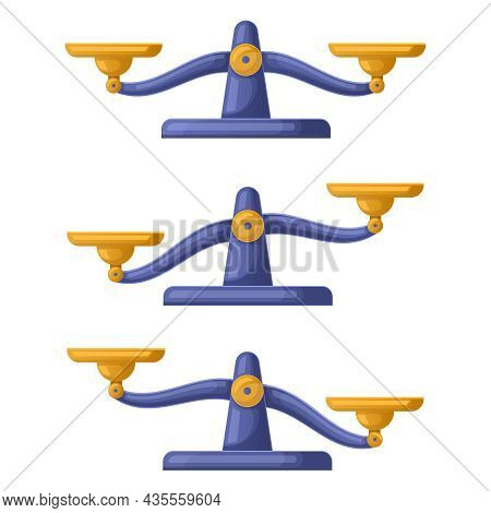 Libra Scales Imbalanced, Weights Balance Justice Concept. Weigher Libra Scales Symbols Vector Illust