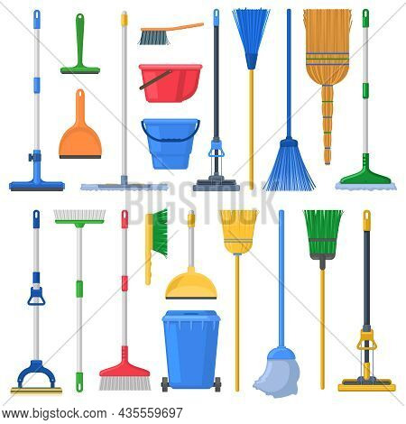Household Cleaning Mops, Broom, Sweeps, Scoops And Plastic Buckets. Cleaning Swab, Mop, Broom, Feath