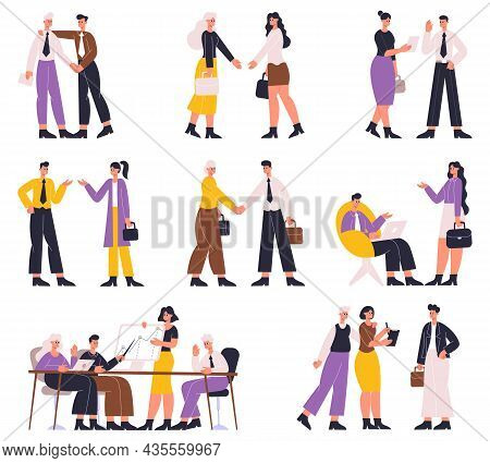 Business People Negotiating, Discussing, Professional Communication, Brainstorming. Office Workers B