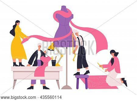 Atelier Seamstress, Tailors, Fashion Designers Work With Tailors Mannequin. Clothing Designers At Wo
