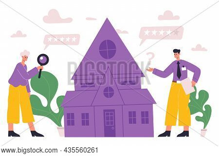Real Estate Property Valuation, Assessment, House Inspection Concept. Real Property Agents Doing Hou