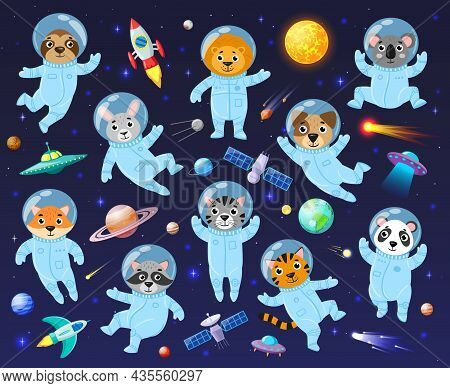 Cartoon Space Cosmonaut Animals, Cute Animal Astronauts. Galaxy Space Animals Koala, Racoon, Leo And