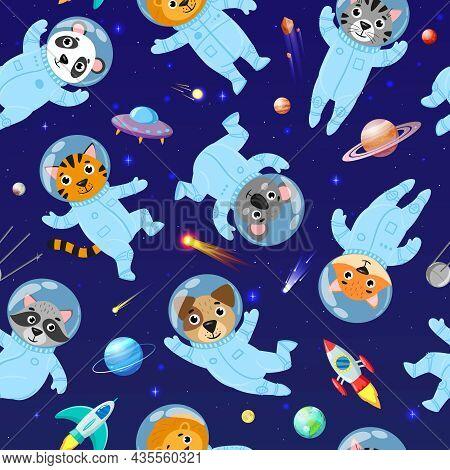 Cartoon Space Animals Cosmonauts, Astronauts Seamless Pattern. Cute Space Galaxy Astronauts In Space