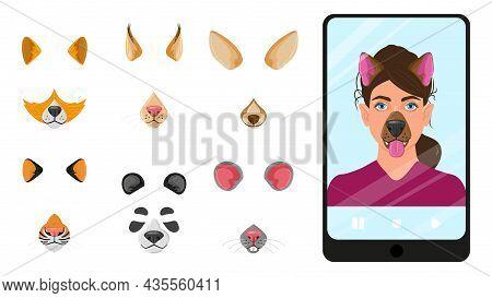 Cartoon Animal Faces Masks For Selfie, Video Chat Mobile App. Selfie Filters, Mobile Photo Editor Ap