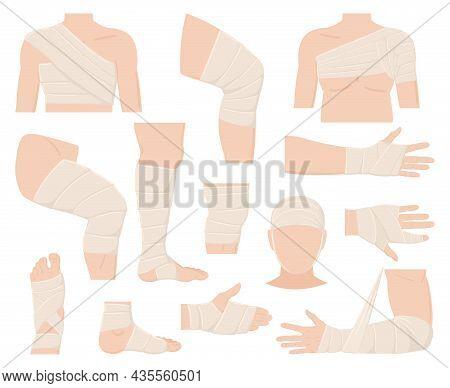 Cartoon Physical Injured Body Parts In Bandage Applications. Bandaged Human Body Parts, Protected Wo