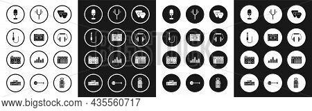 Set Guitar Pick, Retro Audio Cassette Tape, Audio Jack, Microphone, Headphones, Musical Tuning Fork,