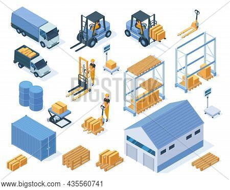 Isometric Warehouse Storage Delivery Logistic Services Elements. Warehouse Building, Forklifts And W