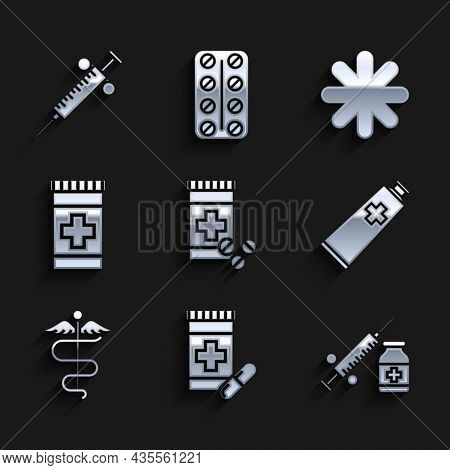 Set Medicine Bottle And Pills, Medical Syringe With Needle Vial Or Ampoule, Ointment Cream Tube Medi