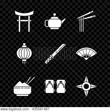 Set Japan Gate, Japanese Tea Ceremony, Asian Noodles And Chopsticks, Rice In Bowl With, Geta Traditi